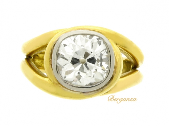 front-view-Solitaire cushion shape old mine diamond ring