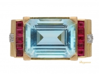 front view Aquamarine, diamond and synthetic ruby cocktail ring, circa 1945.
