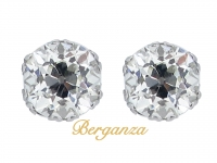 front view Old mine cushion shape diamond stud earrings, circa 1920.