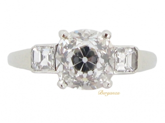 front-view-Art Deco cushion shape old mine diamond ring, circa 1935.