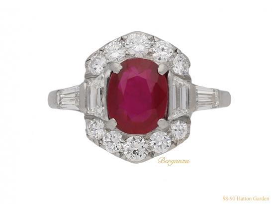 front-view-Art-Deco-ruby-diamond-ring-berganza-hatton-garden