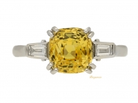 front view Natural yellow sapphire and diamond ring, circa 1950.