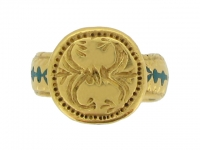 front-view-Ancient Byzantine gold and enamel ring, circa 8th - 10th century AD.