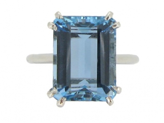 front-view-Solitaire aquamarine ring, French, circa 1935.