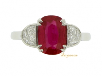 front-view-Art Deco natural Burmese ruby and diamond ring, circa 1935.