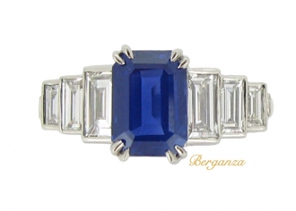 front-view-Kashmir sapphire and diamond ring, circa 1935.