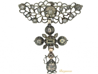 front-view-Georgian diamond brooch in silver