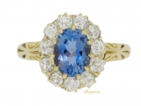 front view Antique aquamarine and diamond cluster ring, circa 1890. berganza hatton garden