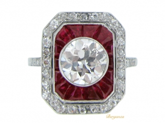 front-view-Antique ruby and diamond cluster ring,