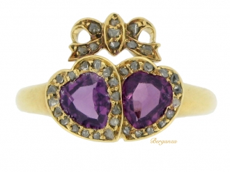 front-view-Victorian garnet and diamond double heart ring, circa 1870.
