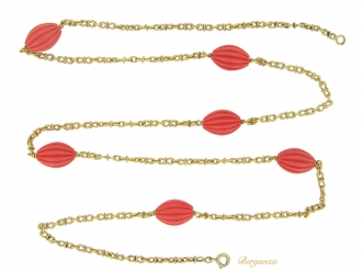 front-view-Fluted coral and gold necklace, French, circa 1970.