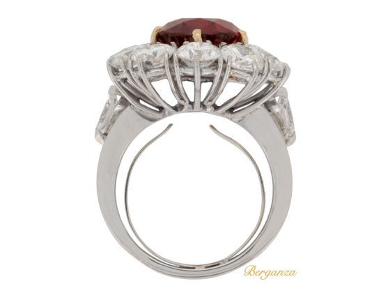 back-view-Vintage ruby and diamond coronet cluster ring