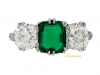 front-view-Colombian emerald and diamond three stone ring