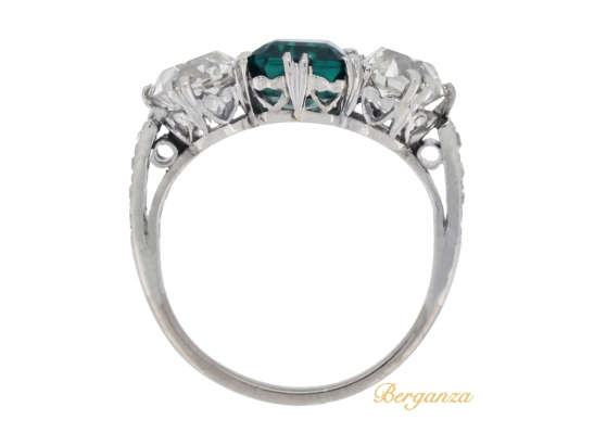 back-view-Colombian emerald and diamond three stone ring