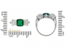 size-view-Colombian emerald and diamond three stone ring