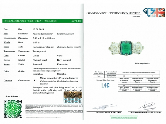 cert-view-Colombian emerald and diamond three stone ring