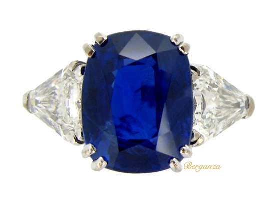 front-view-Natural Royal Blue Burmese sapphire and diamond ring