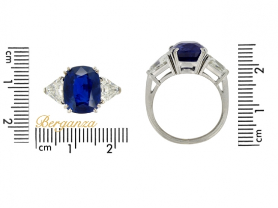 size-view-Natural Royal Blue Burmese sapphire and diamond ring