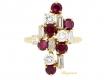 alt='front-view-Boucheron Burmese ruby and diamond cluster ring'