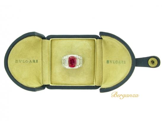 boxed-view-Bulgari Burmese ruby and diamond 'Trombino' ring