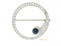 front view Sapphire and diamond brooch