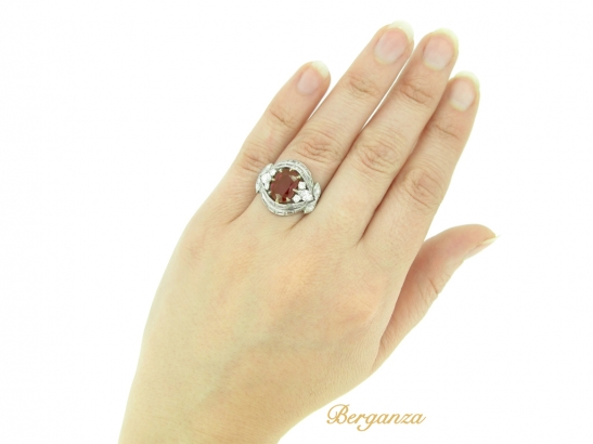 hand-view-Burmese ruby and diamond cluster ring