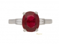 front view Pigeon blood Burmese ruby and diamond engagement ring