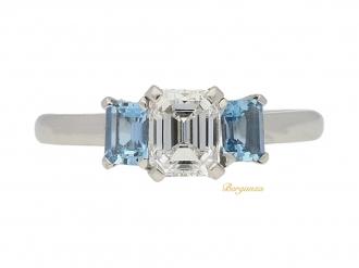 front view Diamond and aquamarine three stone ring