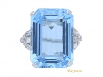 front-view-antique-diamond-aquamarine-ring-berganza-hatton-garden