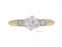 front view Old cut diamond ring, circa 1915.