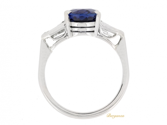 back view Natural 'Royal Blue' Burmese sapphire and diamond ring, circa 1950.
