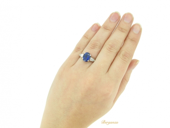hand view Natural 'Royal Blue' Burmese sapphire and diamond ring, circa 1950.