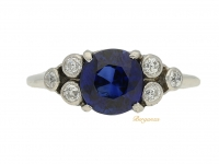 front view Solitaire sapphire ring with diamond set shoulders