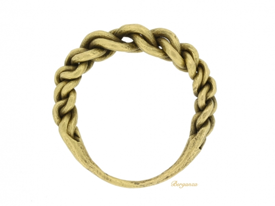back view Viking gold plaited ring