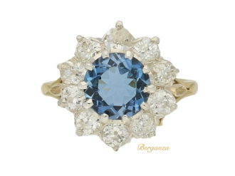 front view Antique aquamarine and diamond cluster ring