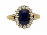 front view Antique Ceylon sapphire and diamond cluster ring, circa 1900.