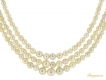 alt='front view Three row natural pearl necklace'