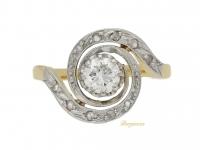 front view Antique diamond tourbillon ring, French, circa 1910.