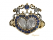 alt='front view Georgian diamond and sapphire double heart cluster ring, circa 1820.'