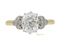 front view Edwardian cushion shape old mine diamond ring, circa 1905.