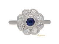 front view Sapphire and diamond cluster engagement ring, circa 1940.