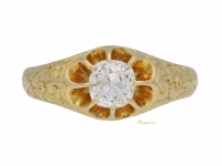 front view Antique solitaire diamond ring, English, circa 1907.