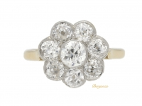 front view Antique diamond cluster engagement ring, circa 1910.
