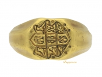 front view Medieval gold seal ring, circa 15th century.