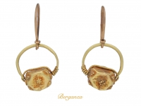 front view Ancient Roman gold earrings, circa 5th century AD.
