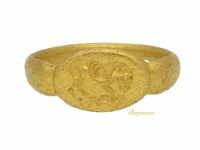 front view Ancient Greek gold signet ring with lion, circa 5th - 3rd century BC.