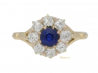 front view Sapphire and diamond coronet cluster ring, circa 1900.