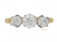 front view Edwardian three stone diamond engagement ring, circa 1905.