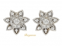 front view Vintage diamond cluster clip earrings, circa 1950.