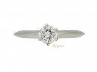 front view Tiffany & Co. solitaire old cut diamond ring, circa 1950.